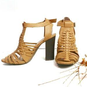 Merona Woven Chunky Heel Open Toe Sandals Size 9